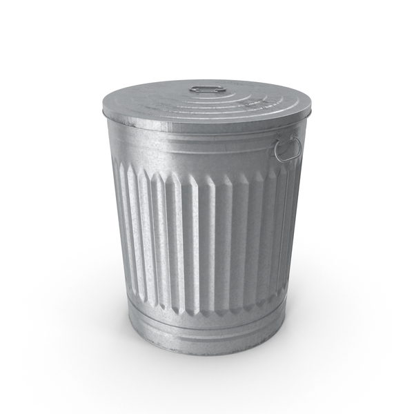 Galvanized Steel Garbage Can Object