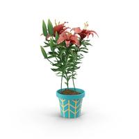 Red Flower in Blue Pot Object