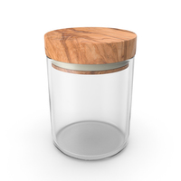 Kitchen Jar with Wood Lid Object