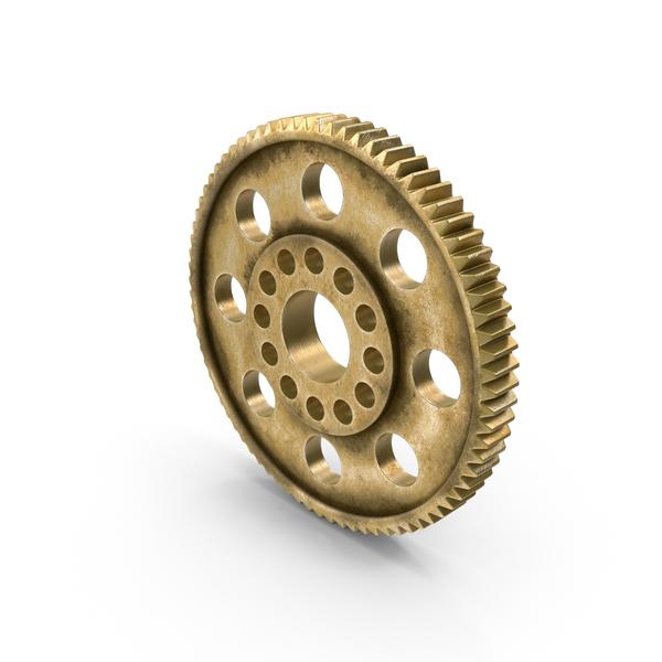 Aged Brass Spur Gear Object
