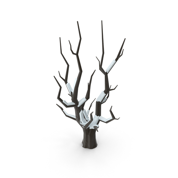 Low Poly Snow Covered Bare Tree Object