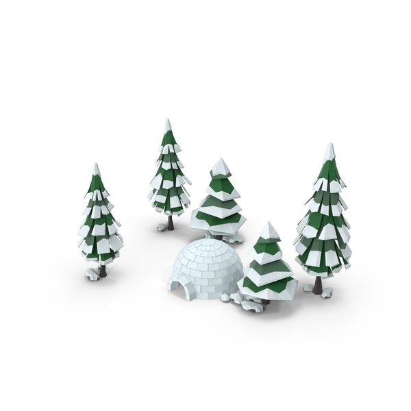 Low Poly Snow Scene Object