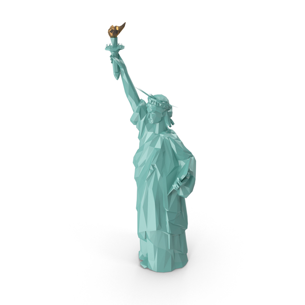 Low Poly Statue of Liberty Object